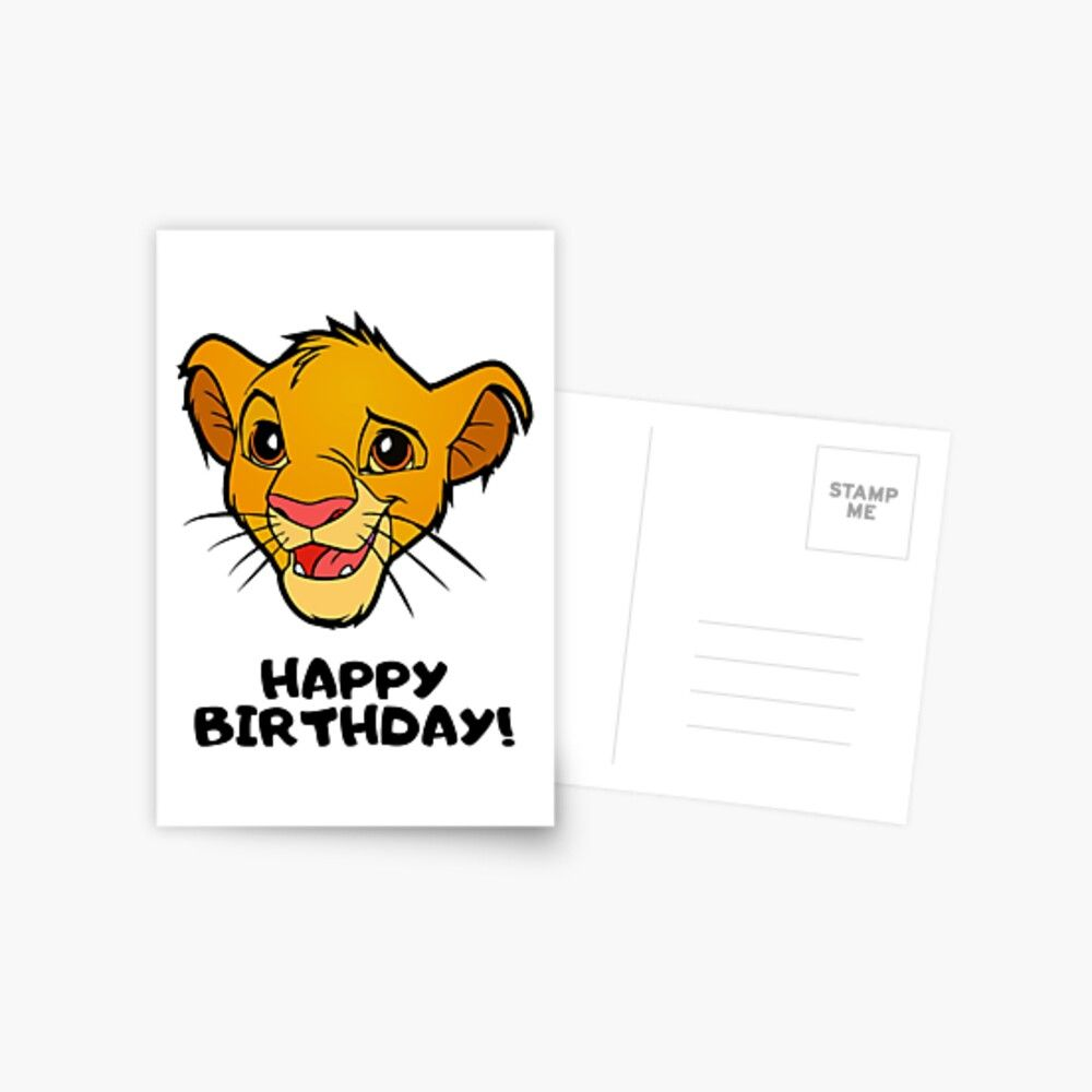 Happy Birthday The Lion King Simba Postcard By Rotembutzian King Card Printed Cards Lion King