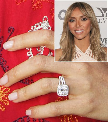 guiliana rancic engagement ring wedding ring diamond cushion cut halo splint shank - Giuliana Rancic Wedding Ring