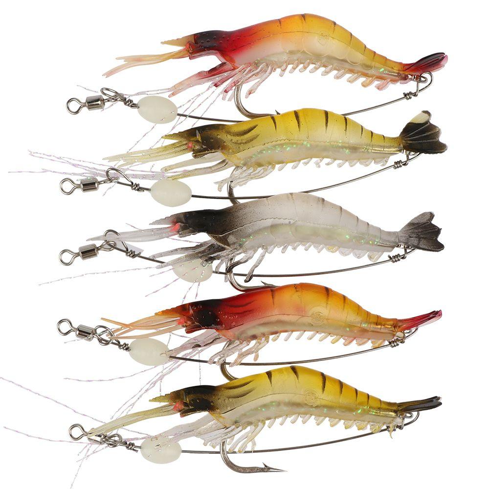 Goture 5 teile/los leucht garnelen locken weichen fischköder köder künstliche fische locken