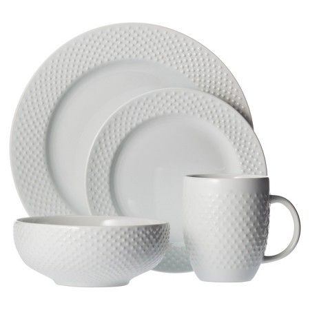16pc dinnerware set white beaded rim threshold - White Dinnerware Sets