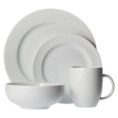 16pc dinnerware set white beaded rim threshold - White Dinnerware Sets