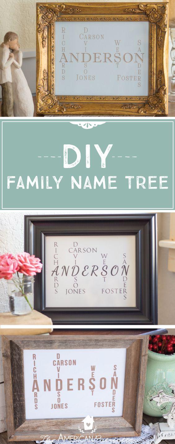 Diy Family Name Tree Great Gift Decor Idea Anniversary Gifts