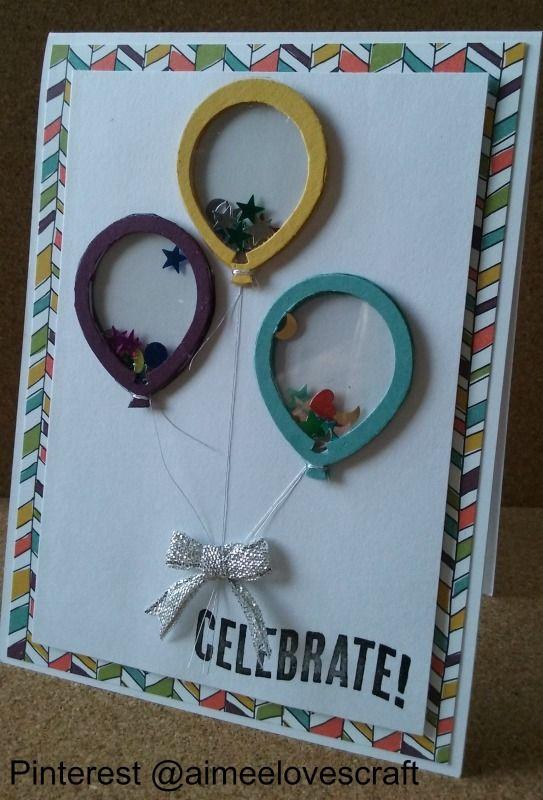 Birthday Card made using Stampin Up! Balloon Celebration Bundle, Shaker card Balloons, Silver thread strings, @aimeelovescraft