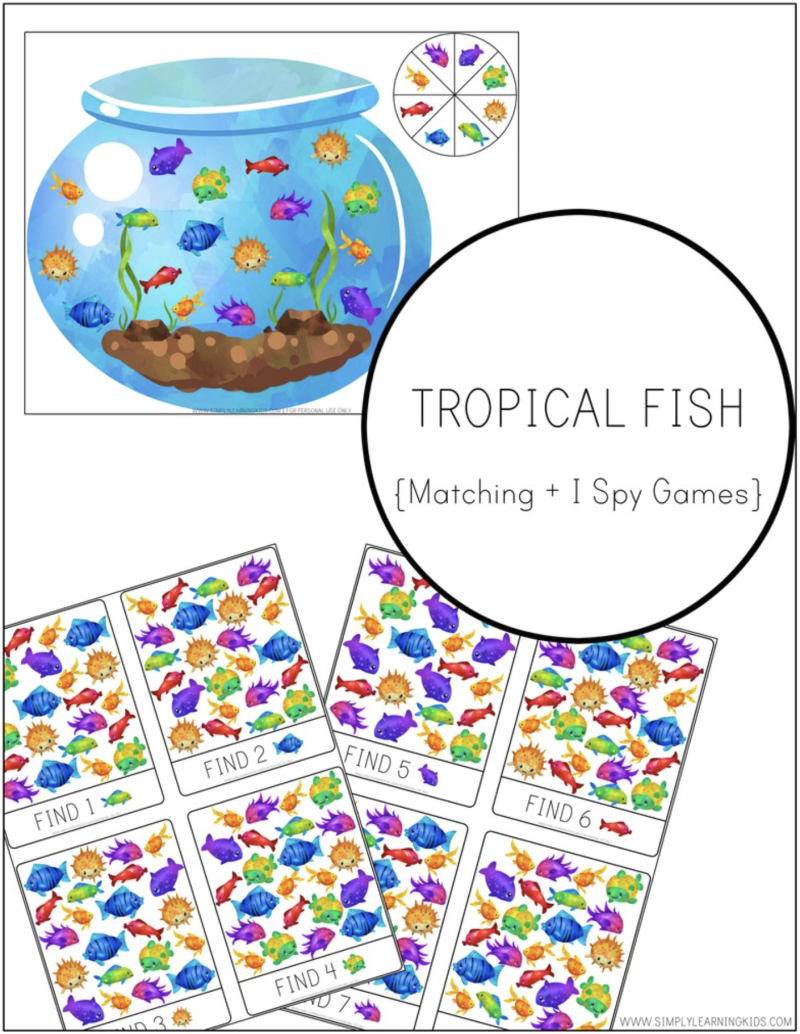 Tropical Fish Matching and I Spy Games (Bottle Bag I Spy)