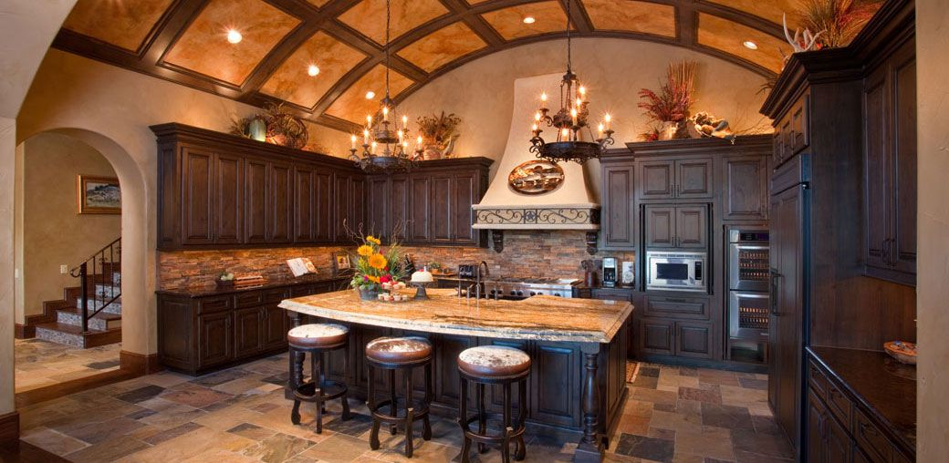 Custom Country Kitchen the ceiling in this country elegant kitchen is a work of art. also
