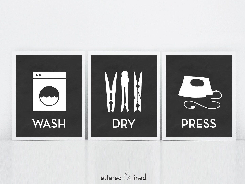 Utility Room Sign Delectable Wash Dry Press  3 Print Set  Choose Background Color Chalkboard Design Decoration