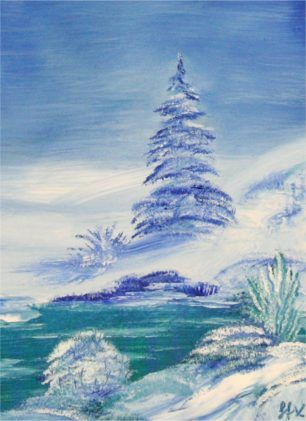 Bob Ross Tribute Oil Painting Winter Landscape With Xmas Tree By