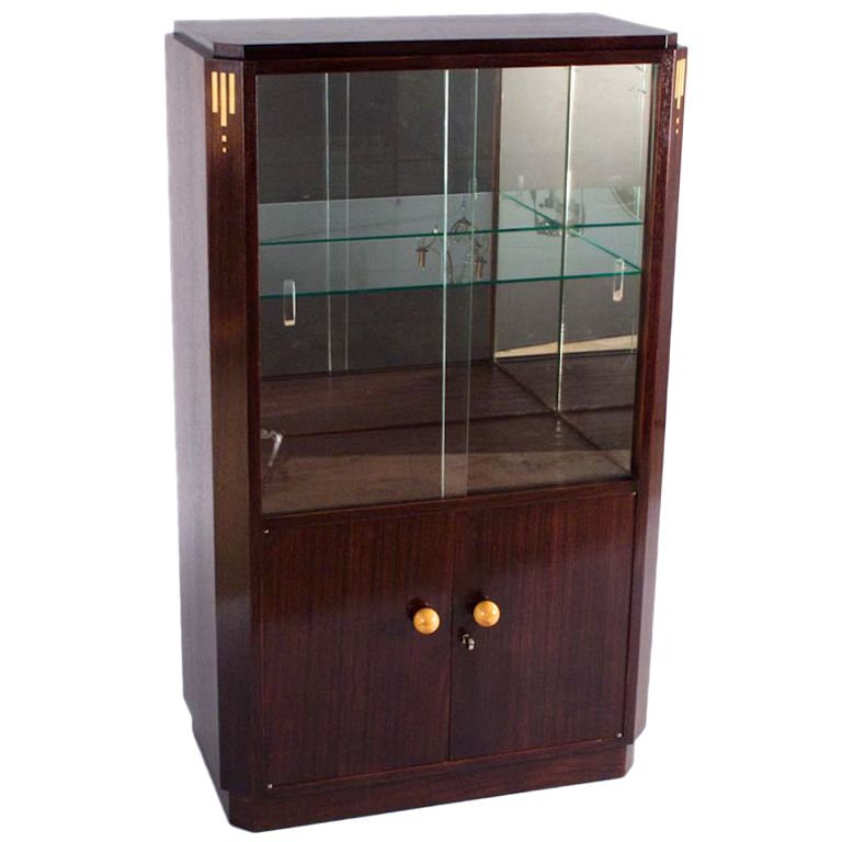 1930s french art deco rosewood bar or vitrine cabinet