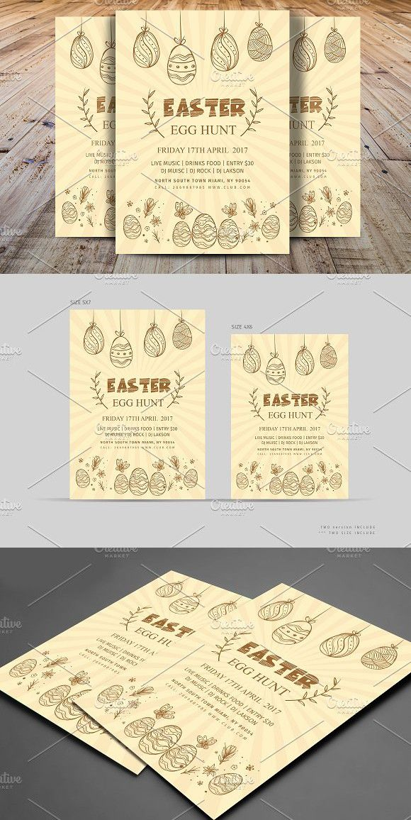 Minimal Easter Egg Hunt Party Flyer. Flyer Templates