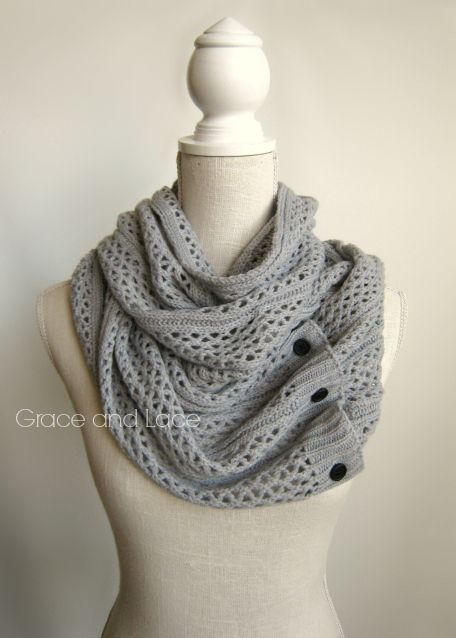 SO Girls Infinity Loop Scarf Solid Marled Ivory One Size