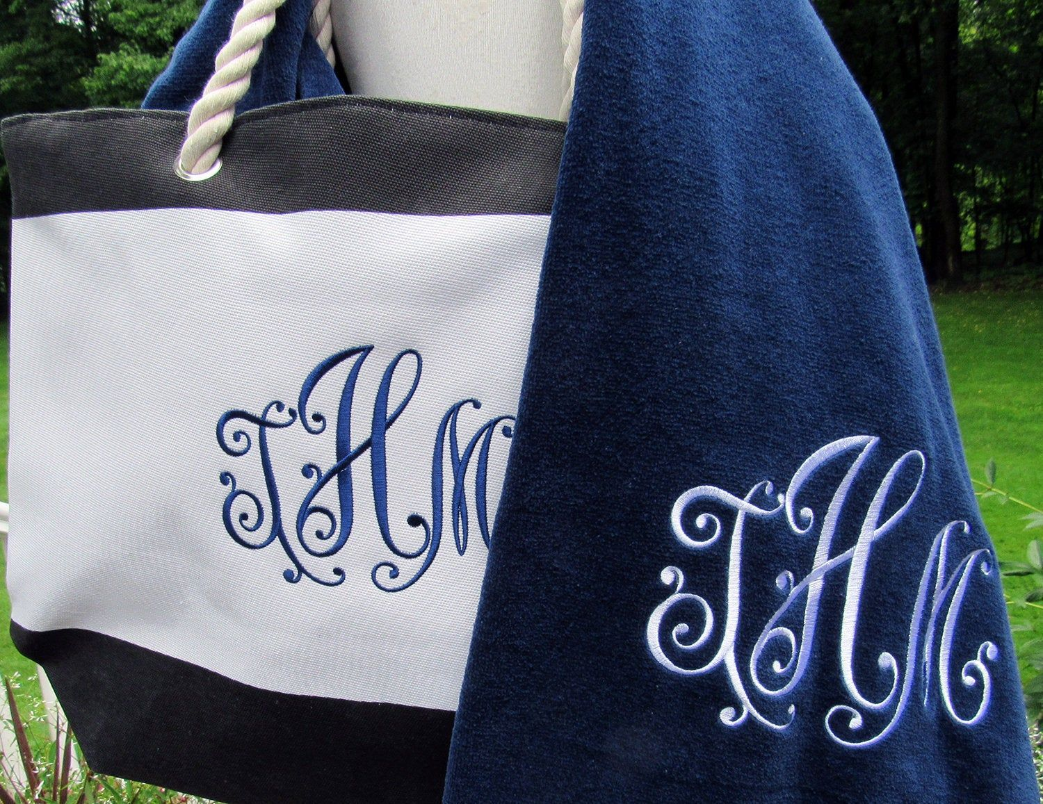 Personalized Beach Tote And Extra Large Towel Set Monogrammed