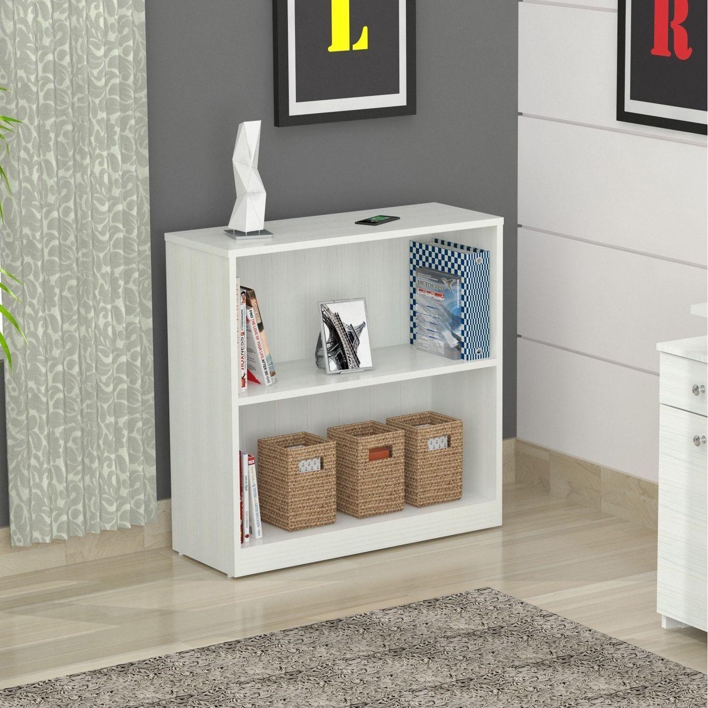 Inval Laricina White 2-shelf Desk Bookcase