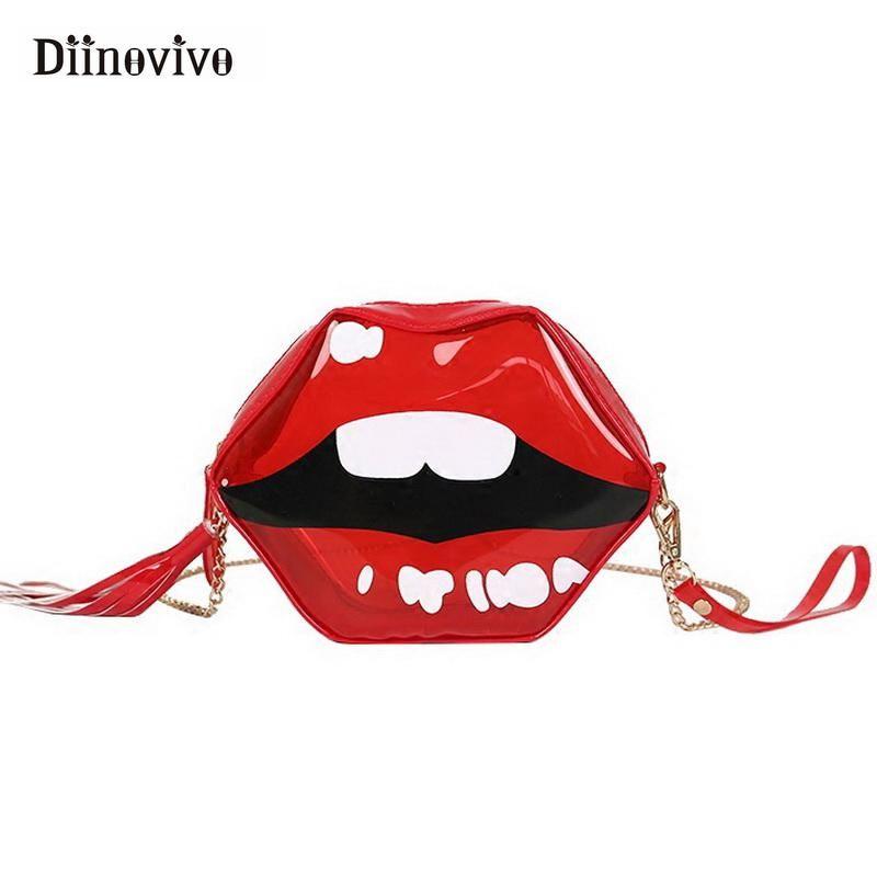 Diinovivo Fashion Red Lips Jelly Shoulder Bag Funny Cute Women