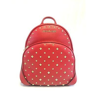 4ae384ac02b1 NEW WOMENS MICHAEL KORS ABBEY MEDIUM STUDDED SCARLET RED LEATHER BACKPACK  BAG