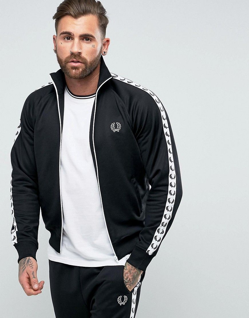 6bf5760a5 Fred Perry Sports Authentic Taped Track Jacket in Black - Black ...