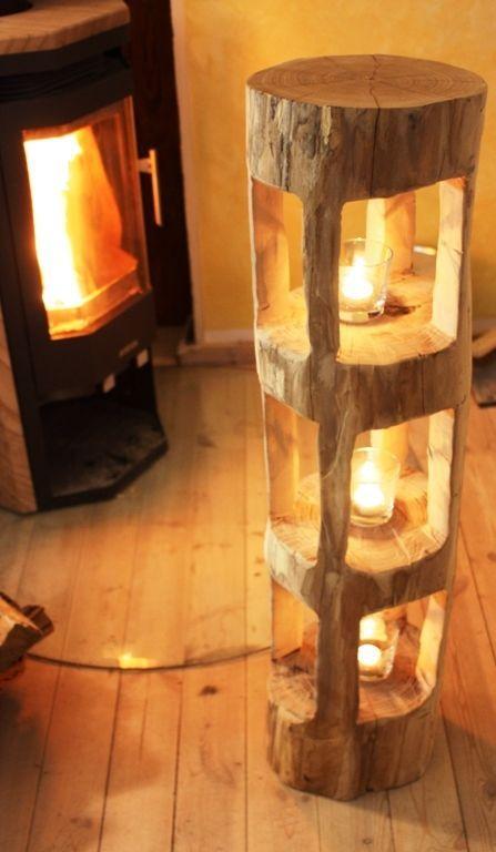 Deko Holzbalken Windlicht Laterne Stele Skulptur Holz Sauna - muebles de bambu modernos