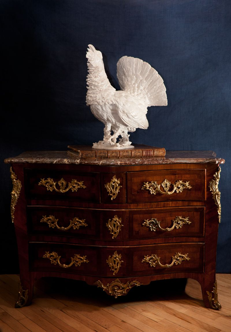 Louis XV commode with white faience Capercaillie Marquetry, Antique  Furniture, Home Furniture, French - Louis XV Commode With White Faience Capercaillie Antique Furniture