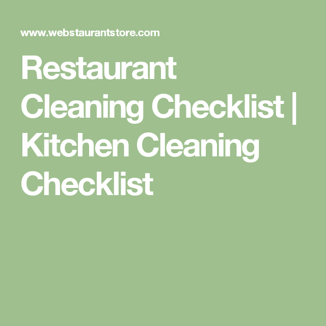 Restaurant Kitchen Resume: Restaurant Cleaning Checklist