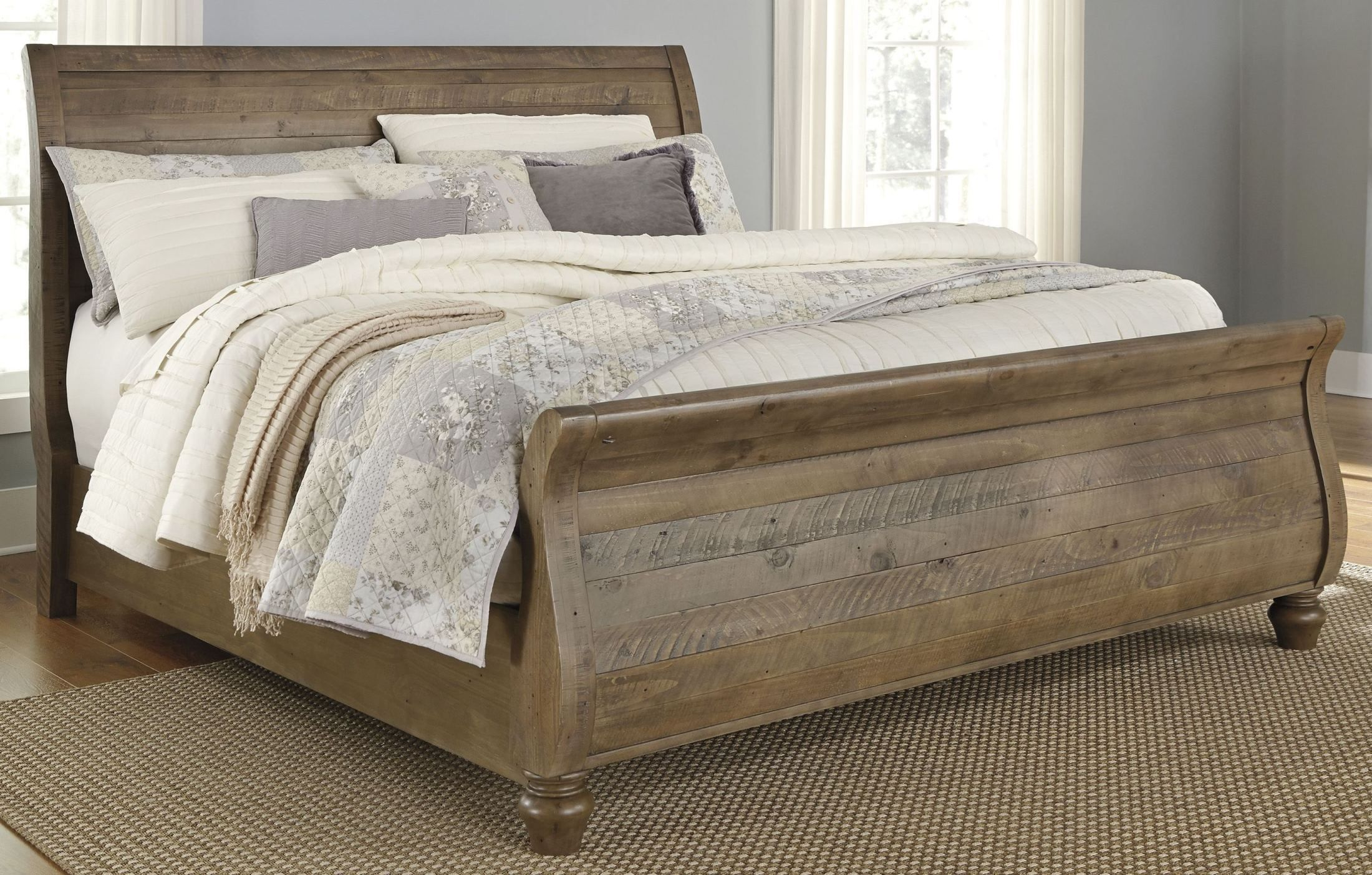 Trishley Light Brown King Sleigh Bed Sleigh bed master