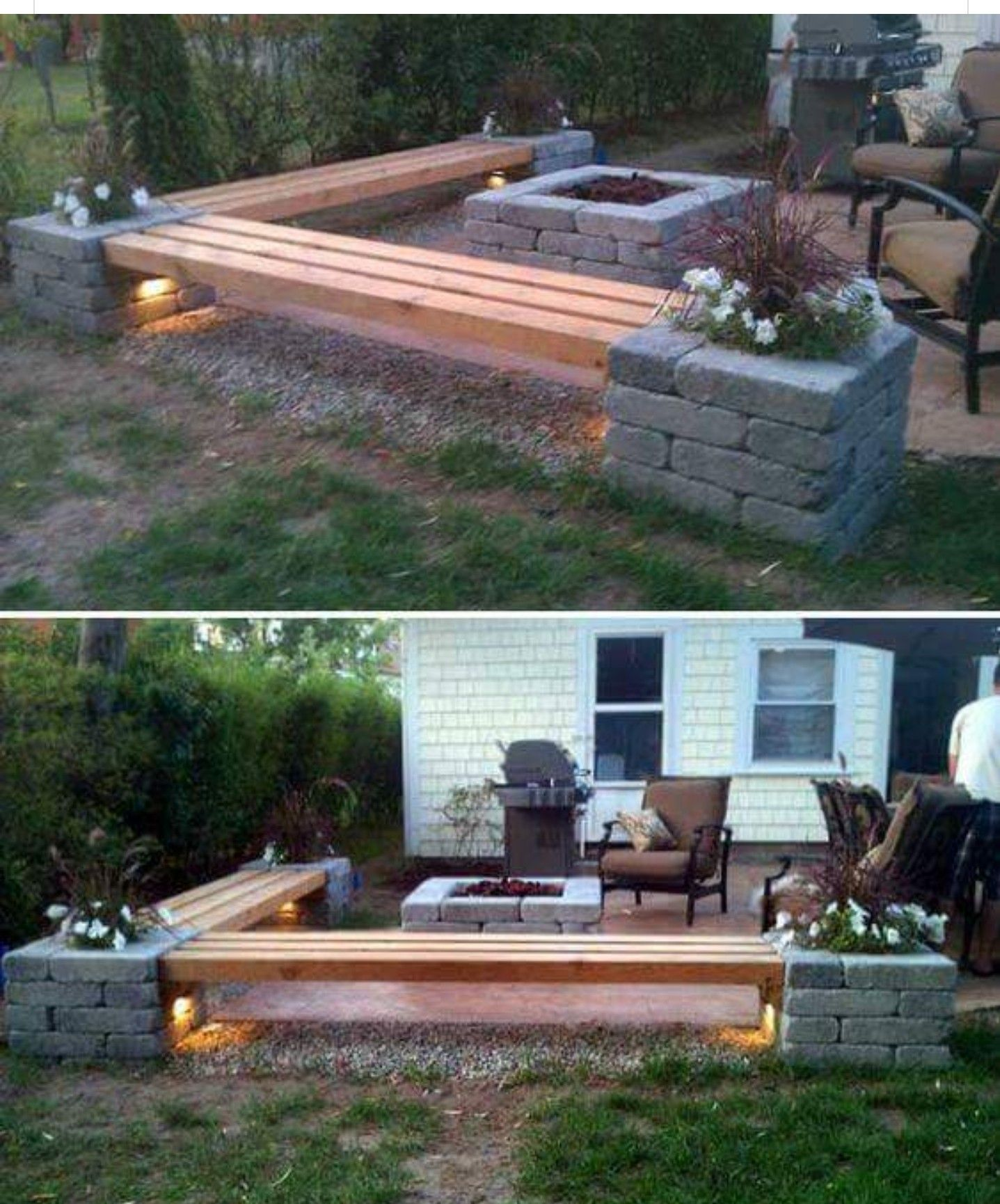 Paver and beam bench, with fire pit. Backyard, Budget