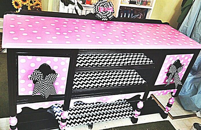 Diy Minnie Mouse Dresser Furniture Salvaged Decor Kids Dressers