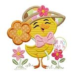 Spring Chick Flower Applique