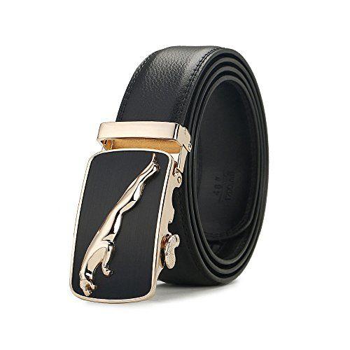 3debb5b1675c Fezhiomu Ceinture en cuir Fashion pour hommes Design Ratchet noir  automatique boucle ceinture homme