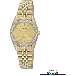 Seiko Solar Stainless Steel Gold Tone Crystal Watch - SUP096 - Women - product - Product Review