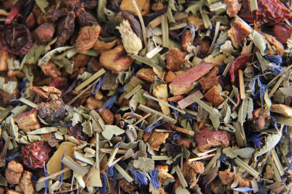 Winter Herbs - This delightful herbal and fruit blend reminds of cinnamon and vanilla.  Ingredients:  apple pieces, hibiscus blossoms, lemongrass, orange peels, rosehip peels, raisins, blackberry leaves, flavour, rooibos, vervain, lime tree blossoms, star-anise, cinnamon, cornflower blossoms, almond flakes, vanilla pieces and cloves.