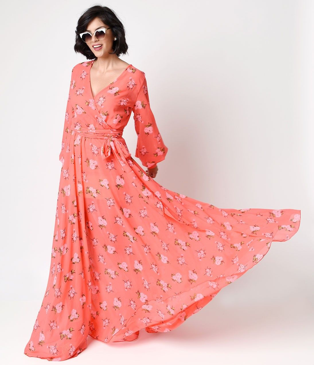 S style coral rose floral long sleeve maxi dress my style