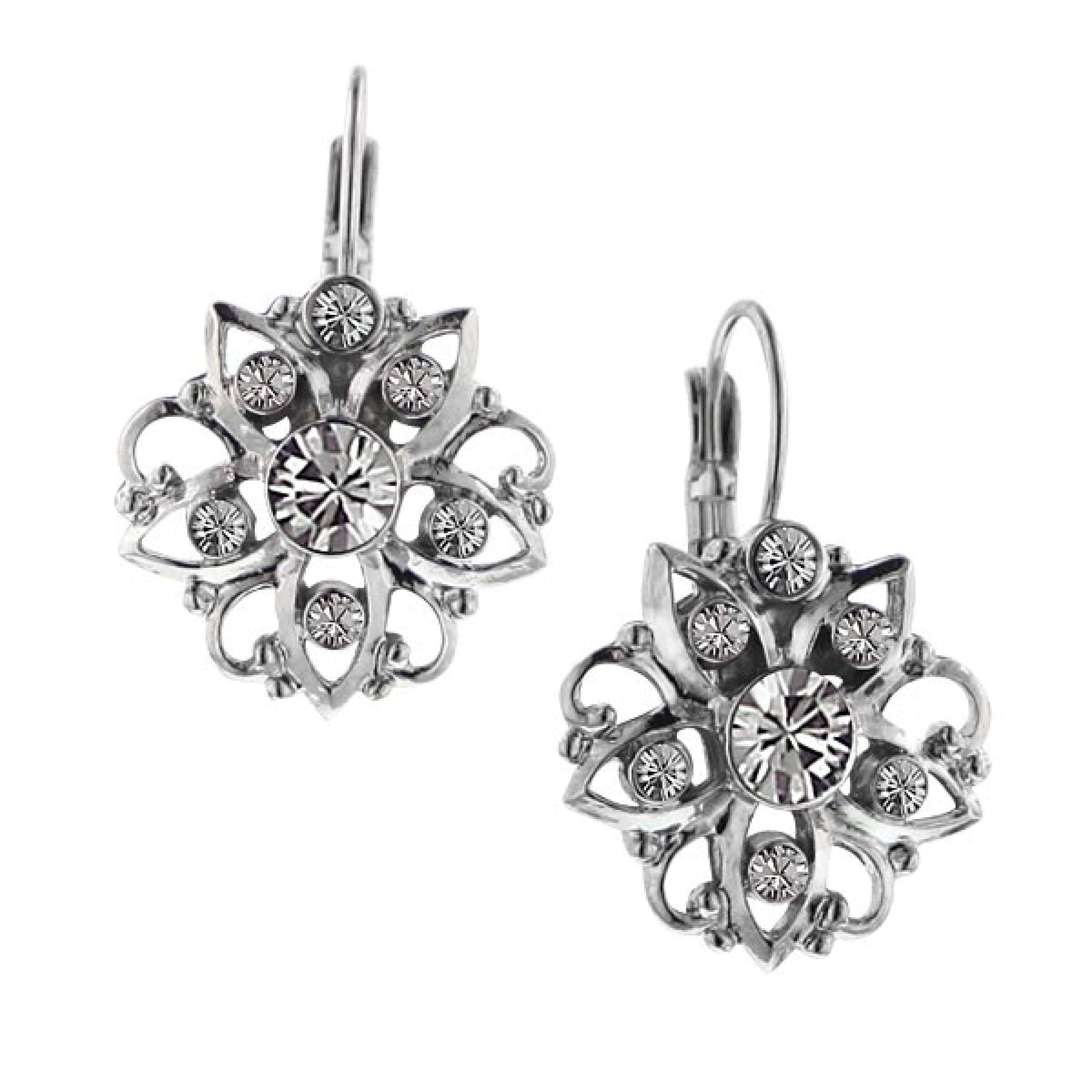 Silver-Tone Crystal Flower Drop EarringsThese dazzling floral lever back earrings are created using lightly antiqued silver tone that resembles platinum. Clear crystals create the look of sparkling diamonds set within silver tone  petals.  These shimmering lever back earrings make the romantic look of diamond and platinum possible for every woman seeking a bit of Victorian inspiration.#vintagejewelry #fashionjewelry #costumejewelry #bridaljewelry #antiquejewelry