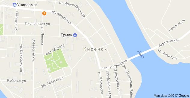 Киренск, Иркутская обл., 666705: карта