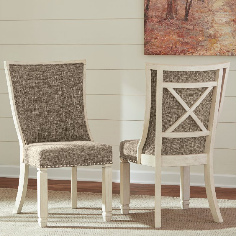 Set Of 2 Antique White Upholstered Dining Chairs Bolanburg Rc Willey Furniture Store Side Chairs Dining Dining Chairs Upholstered Dining Chairs