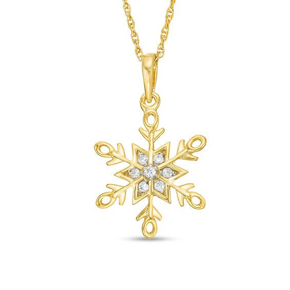 1 15 Ct T W Diamond Snowflake Pendant In 10k Gold Pendants Gold Diamond