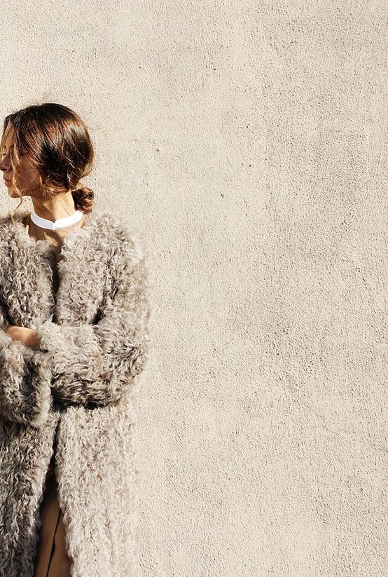 grey shearling coat // stucco
