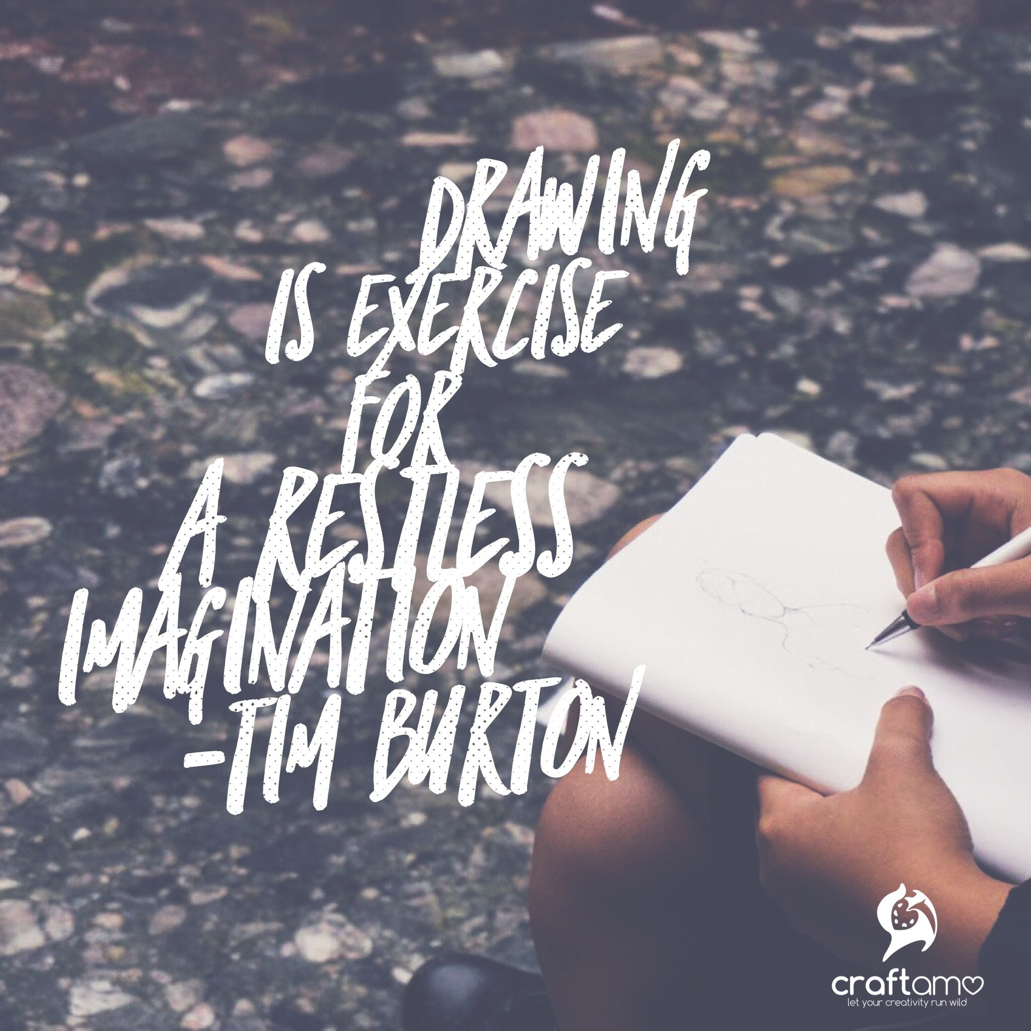 Drawing is exercise for a restless imagination - Tim Burton #ArtQuotes #TuesdayThoughts #QuoteOfTheDay #TimBurton #Craftamo