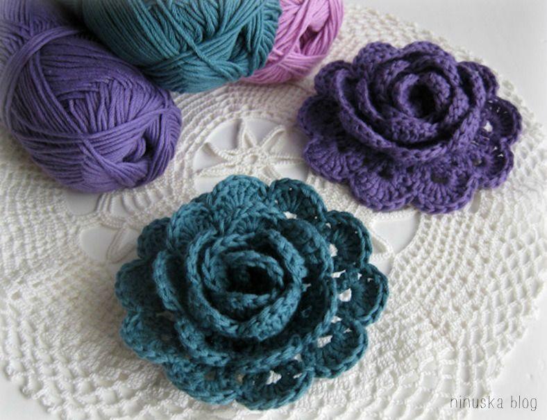 3D Crochet Roses Pattern Easy Video Tutorial   Rose, Crochet and ...