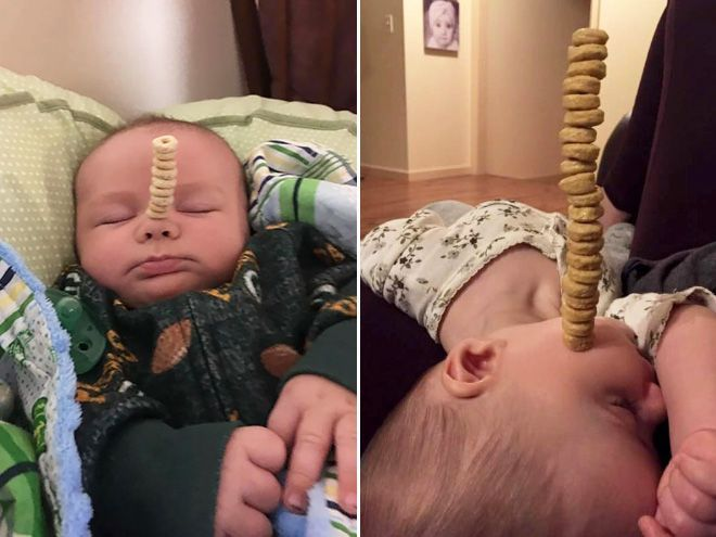 Latest Internet Trend: Dads Stacking Cereal On Their Babies http://ibeebz.com