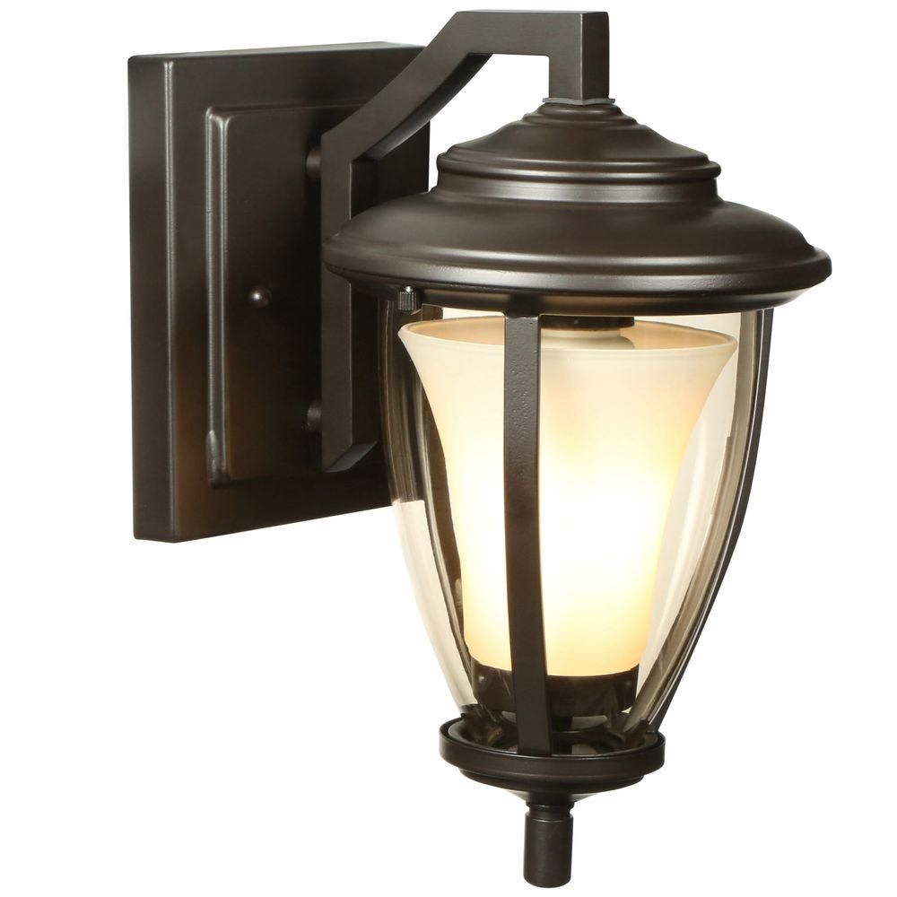 Home Decorators Collection Stockholm Satin Bronze Outdoor Wall Lantern Hb7049a 34 The Home Depot Wall Lantern Energy Saving Lighting Outdoor Wall Lantern