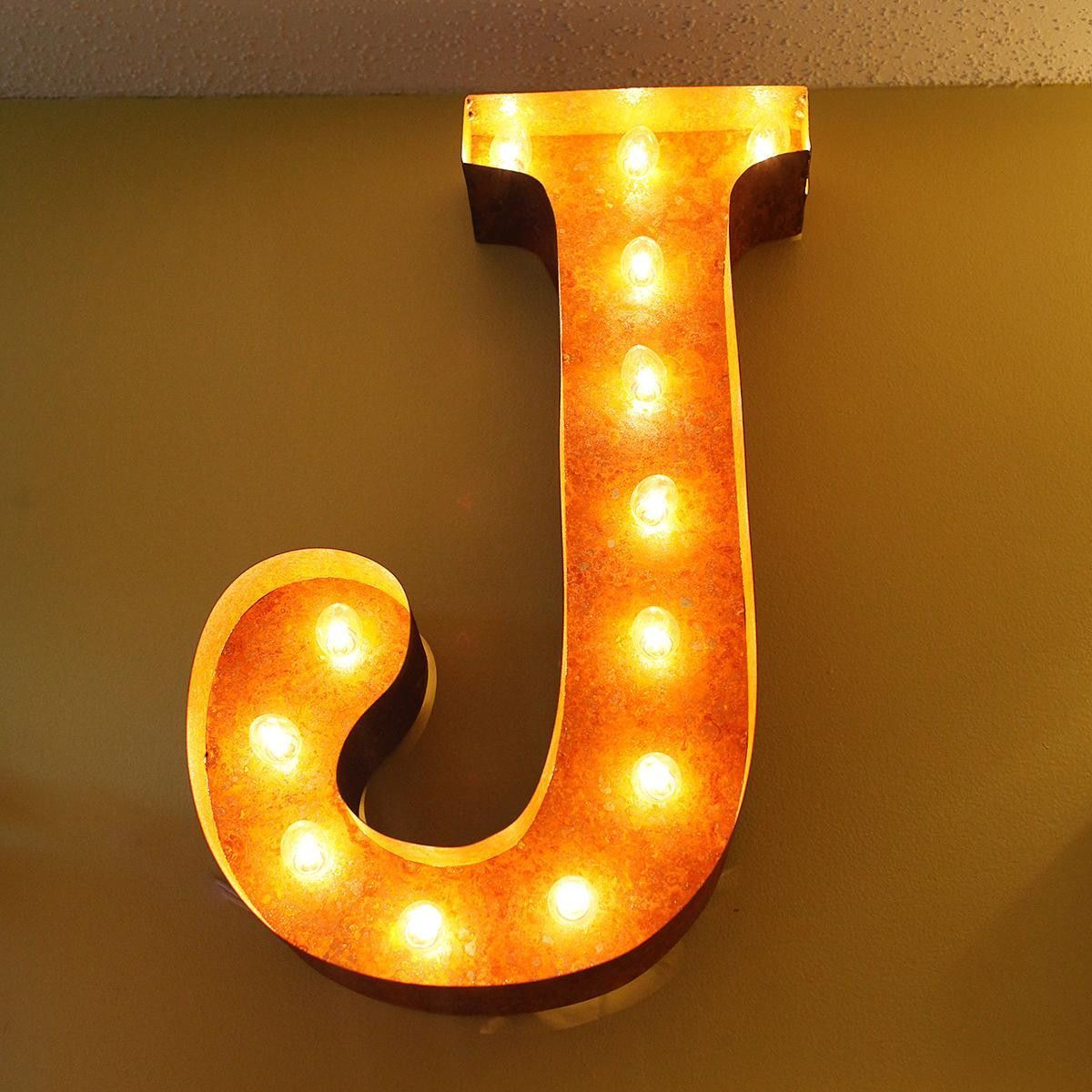 """Lighted Wall Letters 24"""" Letter J Lighted Vintage Marquee Letters Rustic  Marquee"""