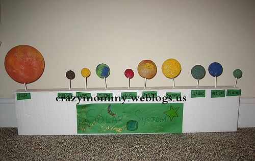 Solar System made from styrofoam balls paint toothpicks