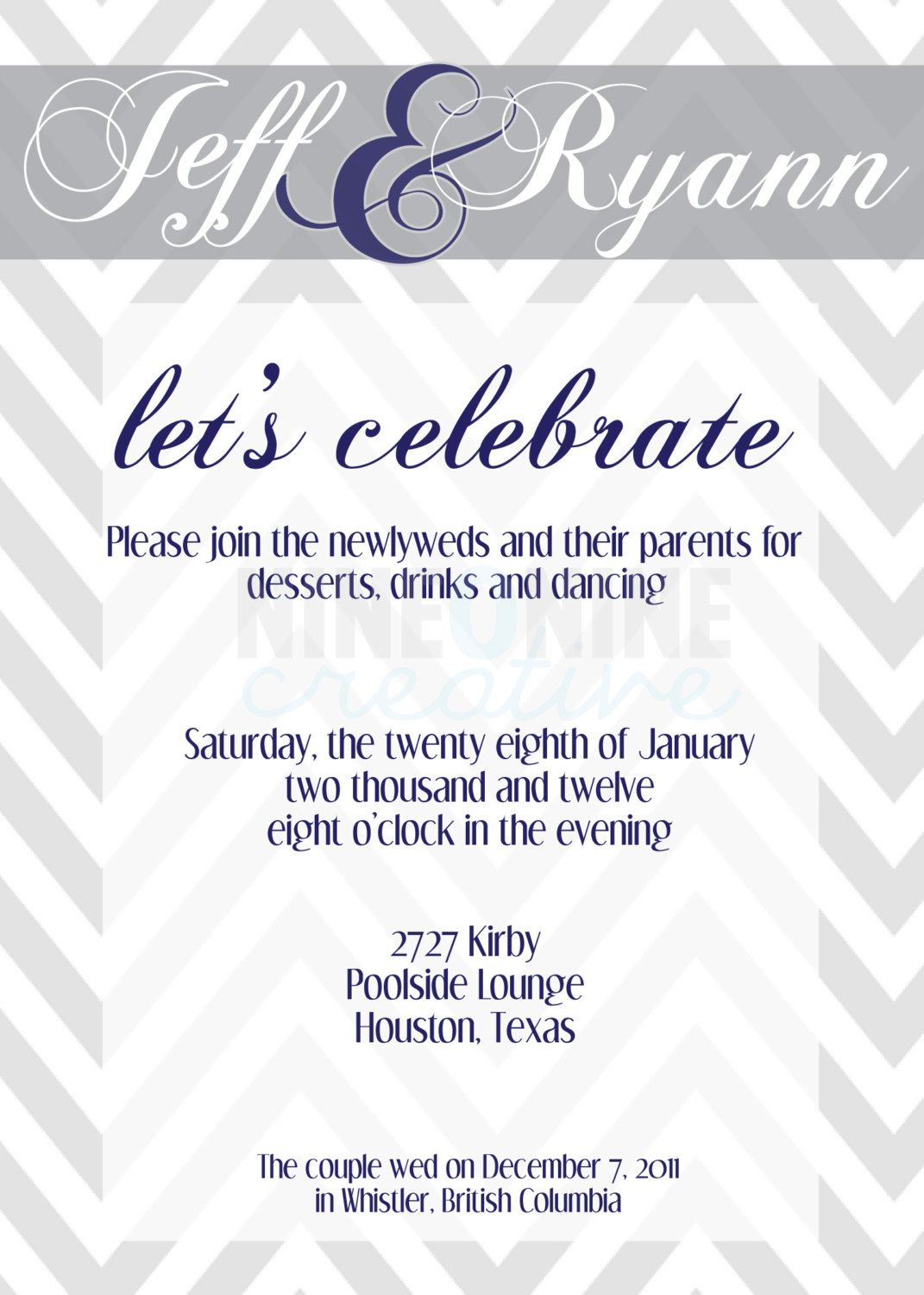 Wedding reception invitation Reception invitations and Wedding