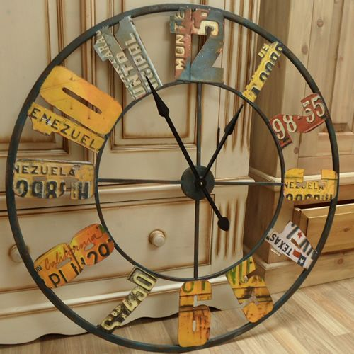 very large metal licence plate wall clock a fabulous statement piece with licence plates from various