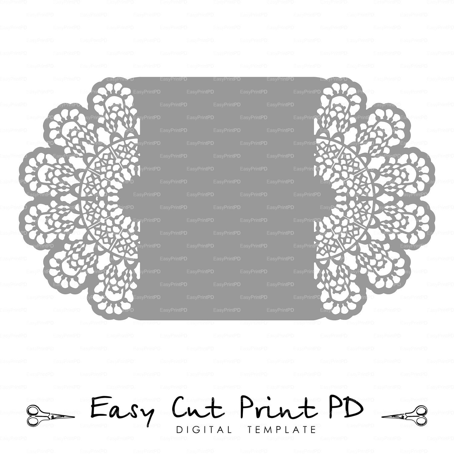 Lace Crochet Doily Wedding Invitation 5x7 Rustic о� Easycutprintpd: Black Doily Wedding Invitations At Reisefeber.org