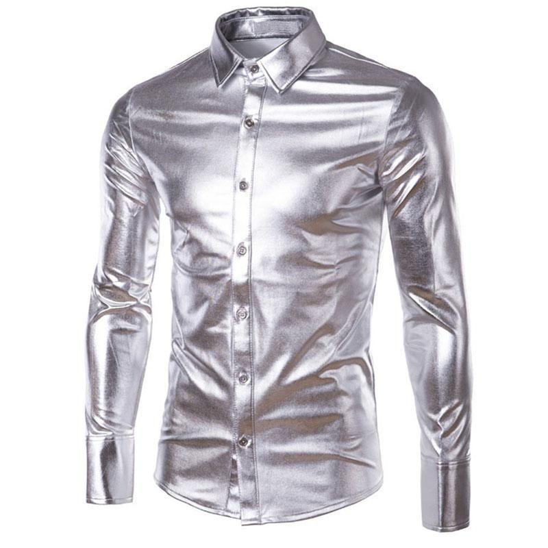 Mens Metallic Gold Costume Shirt