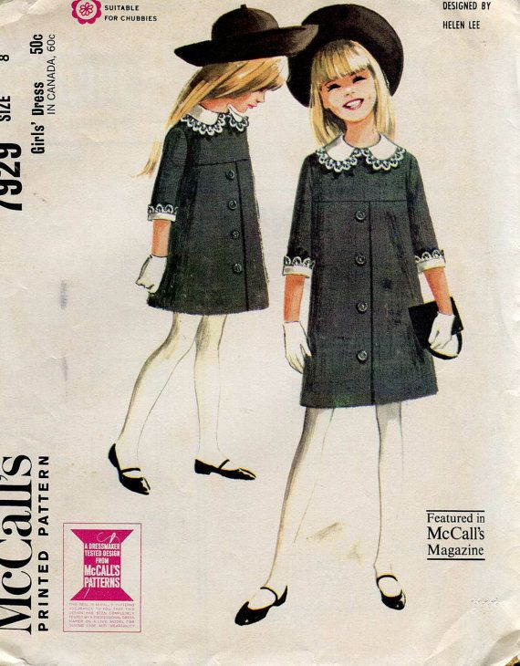 McCalls 7929 Vintage 1960s Girls Dress pattern Size by bellaloona, $6.00