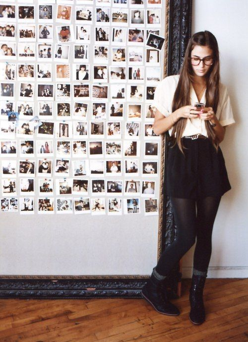 inspiration wall: leaning large frame, small photos inside | <3 ...