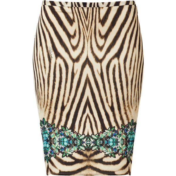 ROBERTO CAVALLI Zebra Printed Cristallo Di Rocca Silk Skirt ❤ liked on Polyvore