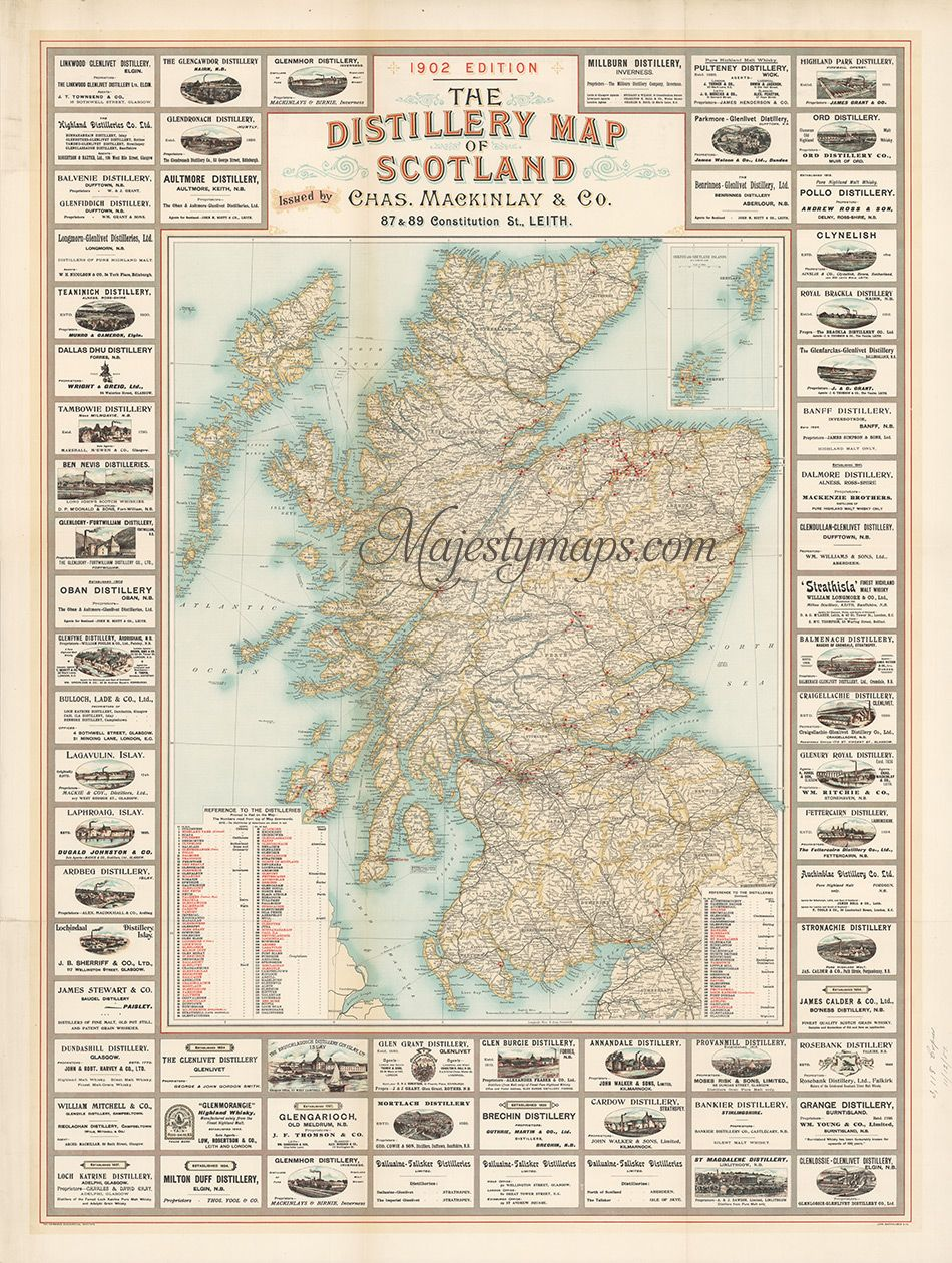 1902 The Distillery Map of Scotland - what I would give for a framed