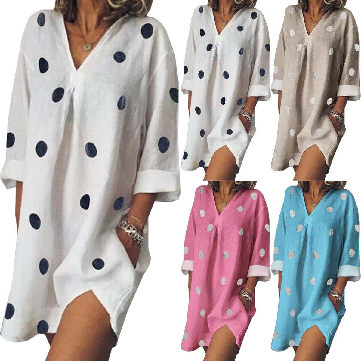 Damen Baumwolle Leinen Minikleid Strandkleid Tunika V-Neck Hemdkleid Longshirt